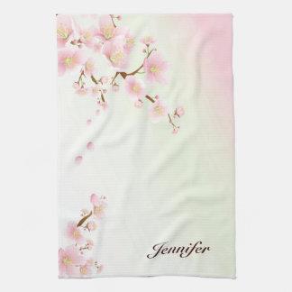 Pink And White Cherry Blossom Nature Monogram Tea Towel