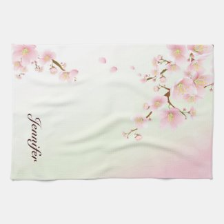 Pink And White Cherry Blossom Nature Monogram Tea Towel