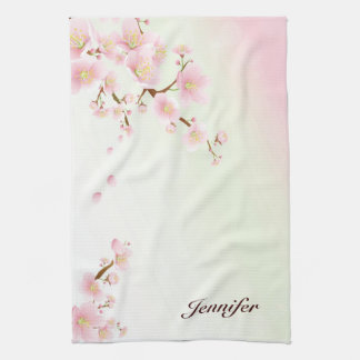 Pink And White Cherry Blossom Nature Monogram Towel