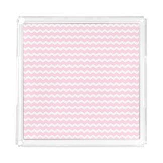 Pink and White Chevron Acrylic Tray