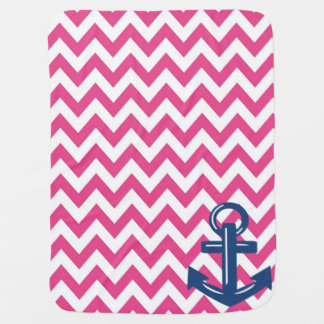 Pink and White Chevron Anchor Throw Blanket