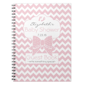 Pink and White Chevron Baby Shower Guest Book