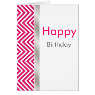 Pink and White Chevron Birthday Card