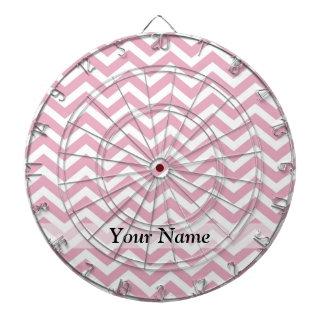 Pink and white chevron dartboard