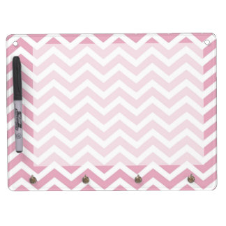 Pink and white chevron dry erase board with key ring holder
