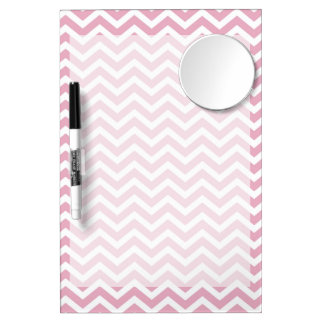 Pink and white chevron dry erase board with mirror