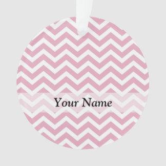 Pink and white chevron ornament