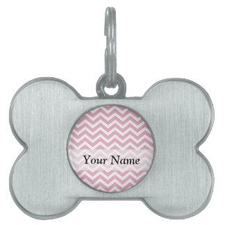 Pink and white chevron pet name tag
