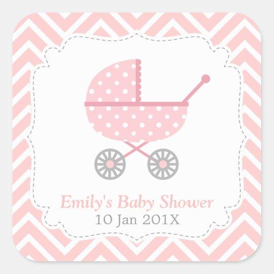 Pink and White Chevron, Stroller, Baby Girl Shower