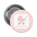Pink and White Chevron Stroller Mummy to be 6 Cm Round Badge