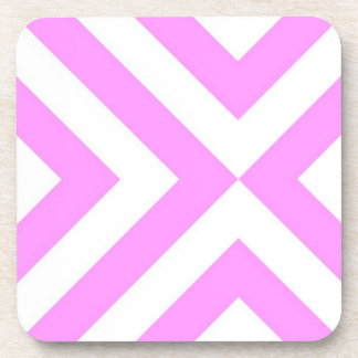 Pink and White Chevrons Drink Coaster