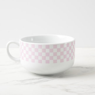 Pink And White Classic Retro Checkered Pattern Soup Mug