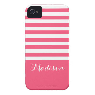 Pink and White Classic Stripes Monogram Case-Mate iPhone 4 Case