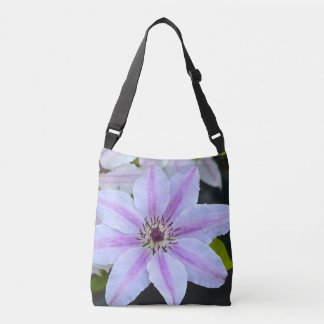 Pink and White Clematis Floral Crossbody Bag