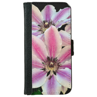 Pink and white clematis flowers iphone wallet case iPhone 6 wallet case