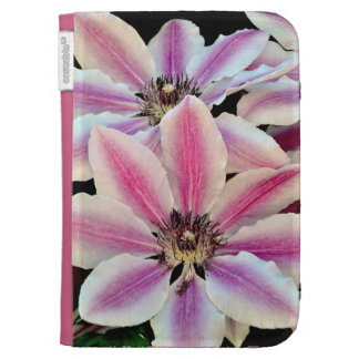 Pink and white clematis flowers kindle folio kindle folio cases