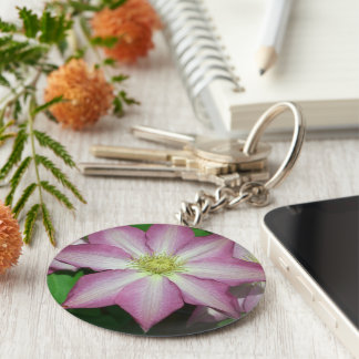 Pink and White Clematis Spring Flower Basic Round Button Key Ring