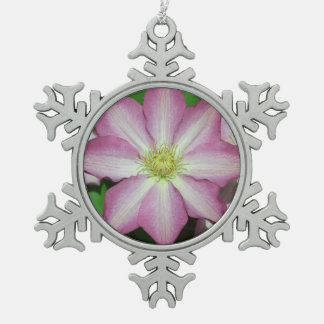 Pink and White Clematis Spring Flower Pewter Snowflake Decoration