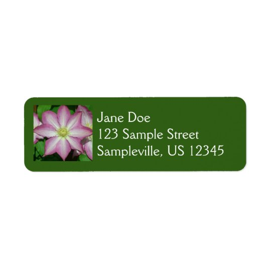 Pink and White Clematis Spring Flower Return Address Label