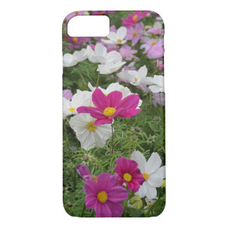 Pink and white cosmos flowers iphone case