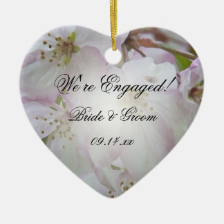 Pink and White Crab Apple Blossoms Engagement Christmas Ornament