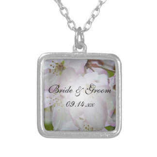 Pink and White Crab Apple Blossoms Wedding Silver Plated Necklace