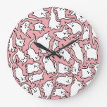 Pink and White Crazy Cats Clock