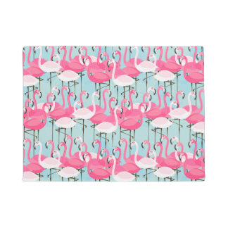 Pink And White Crowd Of Flamingos Doormat
