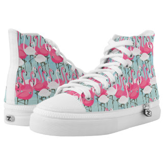 Pink And White Crowd Of Flamingos High Tops