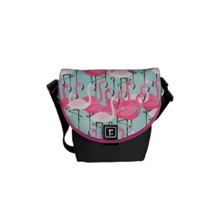 Pink And White Crowd Of Flamingos Messenger Bags