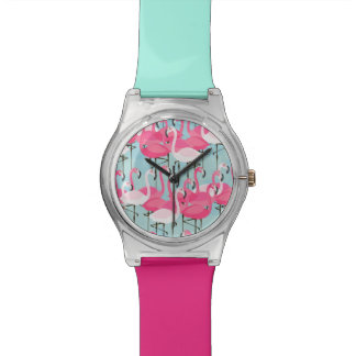 Pink And White Crowd Of Flamingos Watches