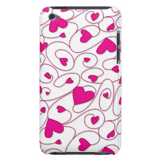 Pink and white curly hearts iPod touch case