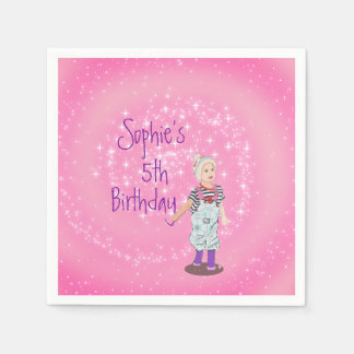 Pink and White Cute Girl Age Birthday Party Disposable Serviette
