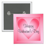 Pink and white cute heart 15 cm square badge