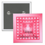 Pink and white cute hearts 15 cm square badge