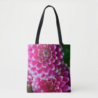Pink and white dahlia flowers tote bag