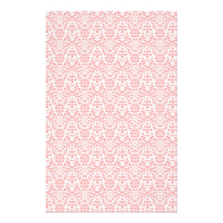 Pink and White Damask Craft Paper Stationery Design