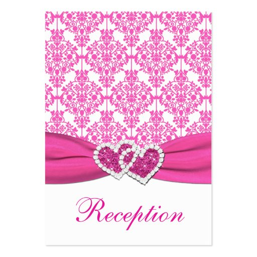 Pink and White Damask Joined Hearts Enclosure Card Business Card