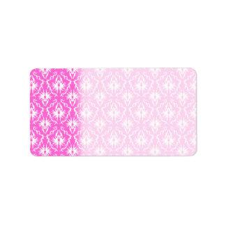 Pink and White Damask pattern. Label