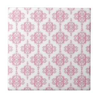 Pink and White Damask Pattern Small Square Tile