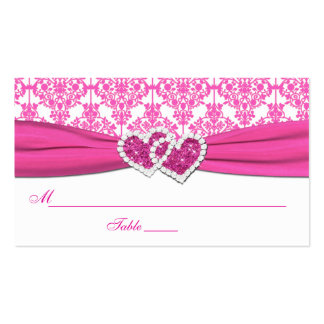 Pink and White Damask Place Cards Business Card Template