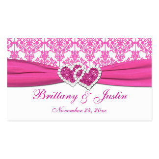 Pink and White Damask Wedding Favor Tag Business Card Templates