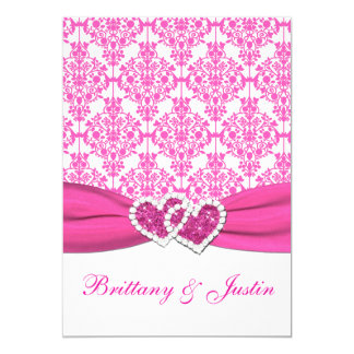 Pink and White Damask Wedding Invitation 5x7
