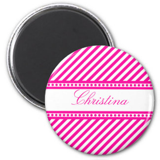 Pink and White Diagonal Stripes 6 Cm Round Magnet