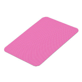Pink and White Diagonal Stripes Rectangular Photo Magnet