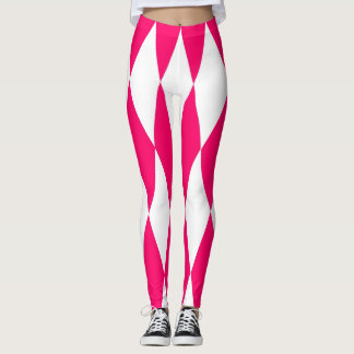 Pink and white diamonds leggings