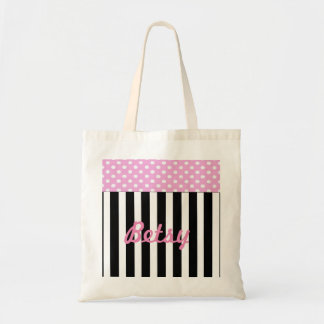 Pink and White Dot Black and White Stripe Budget Tote Bag