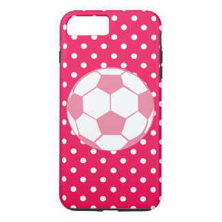 Pink and White Dots with Soccer Ball Iphone Case
