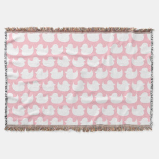 Pink and White Duck Pattern Throw Blanket