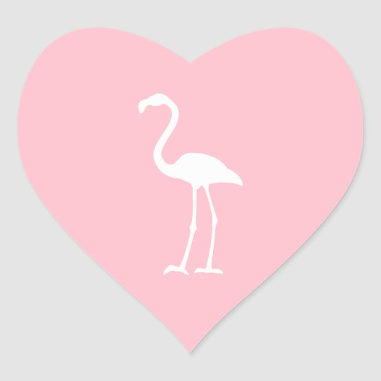 Pink and White Flamingo Heart Sticker